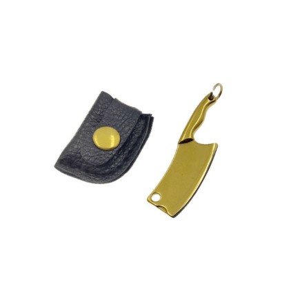 The Hash Grinder Company® - EX® knife in sleeve - G-Rasp line - Mini knife for Hash and Weed - in gold colored steel