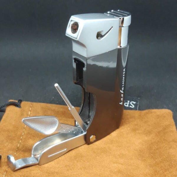 Hashgrinder.com - SPUNK lighter - metal - grijs - tools open zijkant links schuin